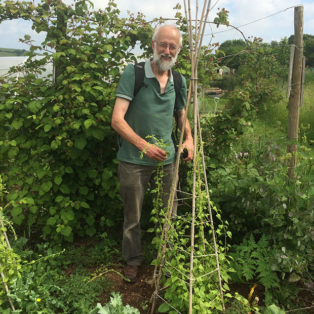 Here's Stephen standing by one of our young Hablitzia plants