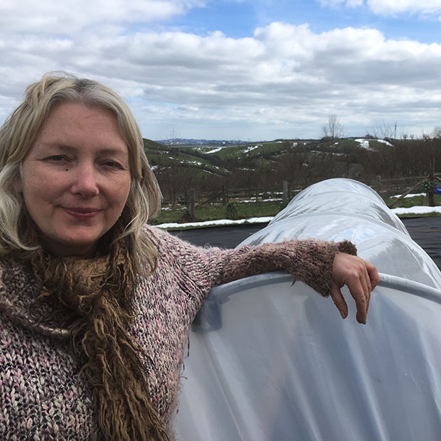Mandy Barber with mini polytunnel
